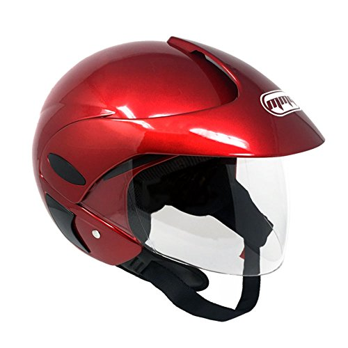 MMG 203 Motorcycle Scooter Open Face Helmet DOT Street Legal, Flip Up Shield, Shiny Burgundy, Medium