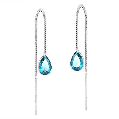 Blue Cubic Zirconia Classic Teardrop Thread Slide Sterling Silver Earrings