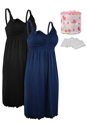 iloveSIA 2pack Women's Seamless Maternity Breastfeeding Nursing Dress with Build-in Bra Black/Blue Size M