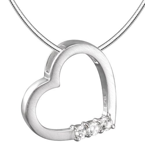 Vinani Anhänger Diamond Heart Herz mit Zirkonia weiß mattiert Schlangenkette 45 cm Sterling Silber 925 Kette Italien ADH45