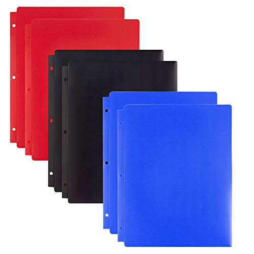Dunwell Plastic 3-Hole Binder Folders - (6 Pack, Black, Blue Red), Punched Poly Folders with Pockets, 3-Ring Folders with Pockets, 2-Pocket Folder, Letter Sized (not A4), Removable Adhesive Labels