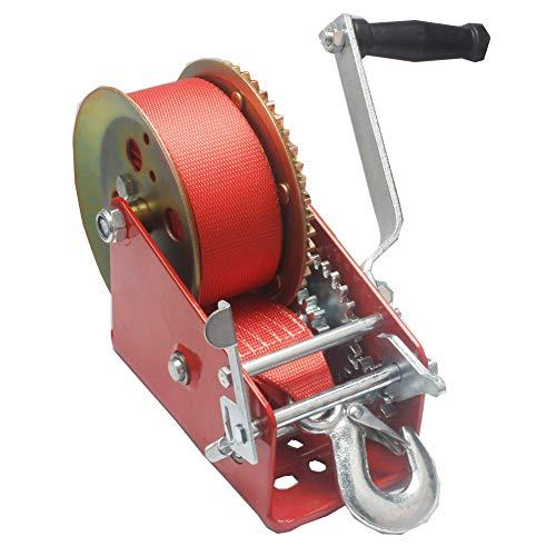 Kinbelle Cabestrante manual de mano de doble engranaje de 1587.6 kg para barco, ATV RV remolque, resistente (C)