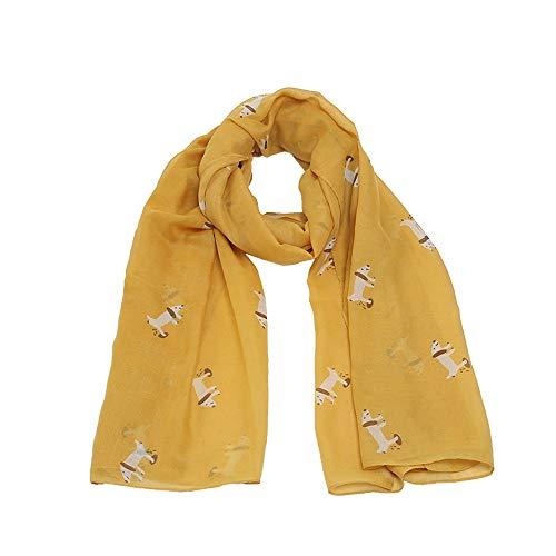 YDGC 100% Polyester-Schal-Frauen Art und Weise der Großen Sonnenschutz-Schal-Licht Hundemuster for Schal und Hals Zum Sonnenschutz Strandtuch Innenklimaanlage Schal Schal erhöhen (Color : Orange)