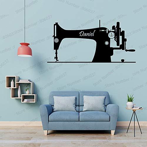 Persoonlijkheid naam naaien tekst vinyl sticker citaat muursticker kledingwinkel decor naaimachine muursticker decoratie 85.5x42cm