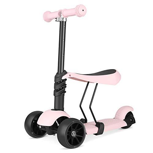 Bamny Kinderroller Kickboard mit verbreiterten Rollen und abnehmbarem Sitz, Kinderscooter Laufrad 2in1 höhenverstellbarer Lenker und LED Leuchtrollen, 1-5 Jahre altes Baby (Rosa)
