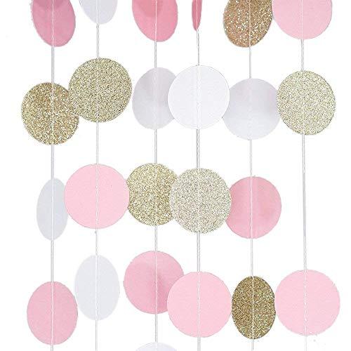 FOGAWA Guirnalda de Papel Decoración de Guirnalda con Purpurina y Lunares Darado Blanco Rosa para Boda Fiesta de Cumpleaños Pack de 5
