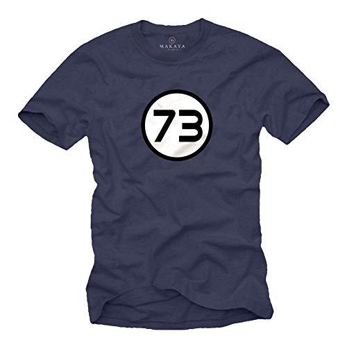 MAKAYA Big Bang Camiseta para Hombre - Numero 73 Teoría Mágico - T-Shirt Matematicas Regalo Frikis Azul Talla Grande L
