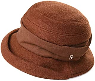 Womens Derby Hat 1920s Fedora Round Bucket Winter Bowler Beret Painter Fall 55-59cm