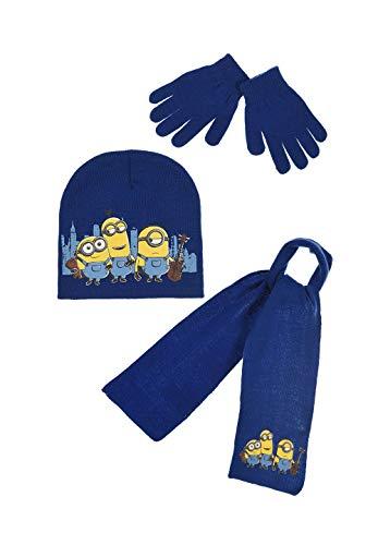 Minions Kinder Winter-Set 3-TLG. Mütze, Schal und Handschuhe Blau, Größe:54