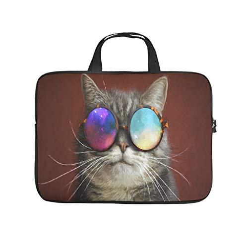 cool cat glasses whisker animals Laptop bag Pattern Laptop Case Bag Soft Anti-Static Laptop Briefcase with Portable Handle for Women Men white 17 zoll