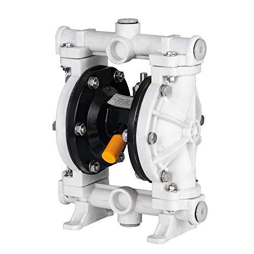 SOFEDY 1/2' Polypropylen Air-Operated Double Membrane Diaphragm Pump Anti-Corrosion 13GPM 150F Max. 100PSI 66605J-3EB for Industrial Use Waste HCL White