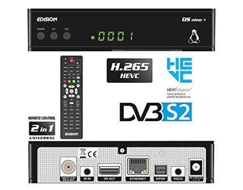 EDISION OS NINO+ Full HD Linux E2 Sat Receiver H.265/HEVC (1x DVB-S2, 2X USB, HDMI, LAN, Linux, Kartenleser, 1080p) [Vorprogrammiert für Astra], 01-08-0016