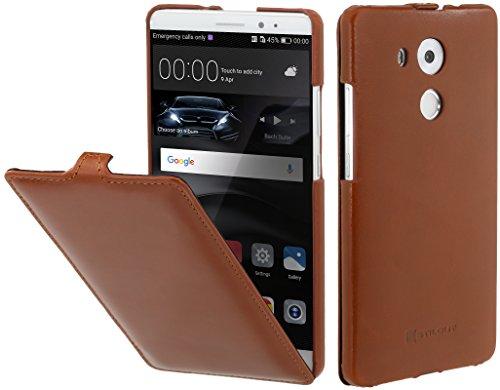 StilGut Leder-Hülle kompatibel mit Huawei Mate 8 vertikales Flip-Case, Cognac