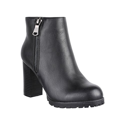 Elara Damen Stiefeletten Ankle Boots Chunkyrayan 2018 C223-Black-36