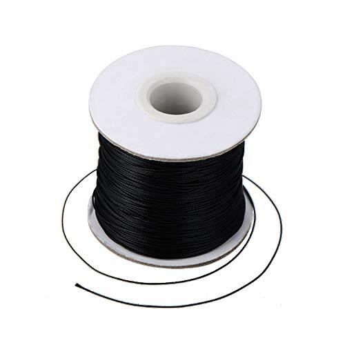 Rmeet Cuerda Encerada,85M Encerado Algodón Collar Cordón Cordón de Algodón para Colgantes Collares Fabricación de Joyas DIY 2mm Negro