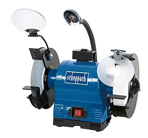 SCHEPPACH BG200AL Amoladora de Banco con dos Discos Ásperos de Lijado y Afilado con Lámparas Ajustables, 550 W de potencia, Azul