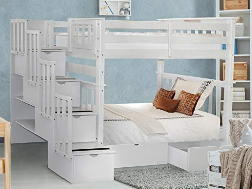 Bedz King Tall Stairway Bunk Beds Twin over Twin with 4 Drawers in the Steps and 2 Under Bed Drawers, White
