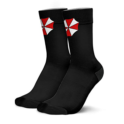 Men's Boys Dress Crew Socks Resident Umbrella Evil Corp Symbol  Trendy Fun Patterned Colorful Crazy Funky Funny Comfy Casual Athletic Socks Black Gift