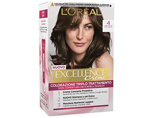 L'Oréal Paris Excellence Creme, Tinta Colorante con Triplo Trattamento Avanzato, Copre i Capelli Bianchi, 4 Castano