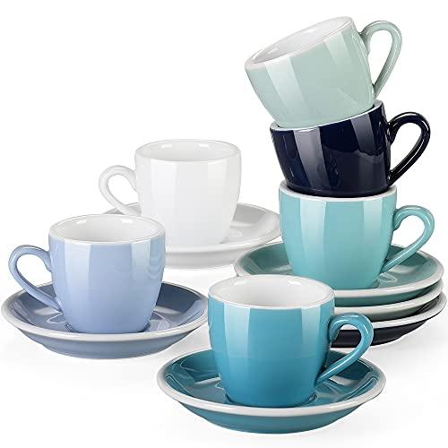 Espressotassen Set porzellan, LOVECASA 12-teilige Kaffeetassen mit Untertassen für 6 Personen, Cappuccinotassen