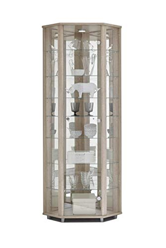 LOCKABLE Fully Assembled HOME Oak Effect Corner Glass Display Cabinet, 7 Glass Shelves, Mirror Back, Spotlight