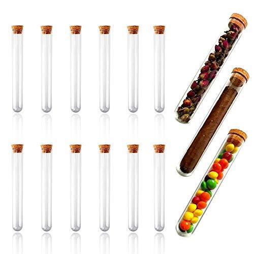 Dartue Reagenzglas mit Korken 15 PCS 30m Reagenzgläser Kunststoff Transparent Test Tube für Blumen Gastgeschenke Hochzeit Süßigkeiten Badesalz Gewürze