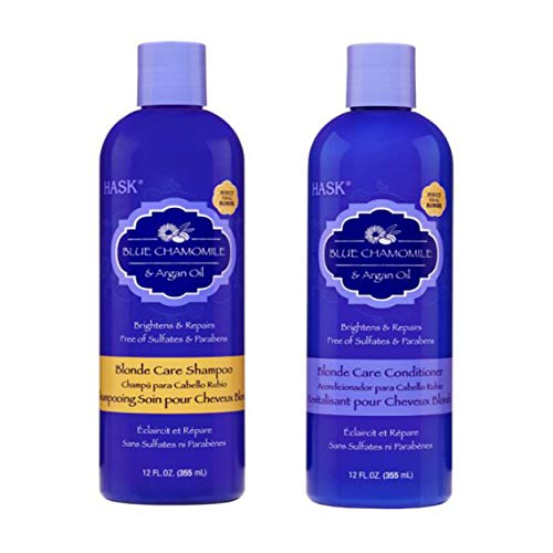 HASK Blue Chamomile & Argan Oil Blonde Care Shampoo and Conditioner (12 US FL OZ)