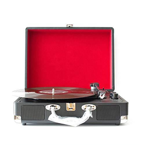 QIAO Reproductor de Discos de Vinilo, Tocadiscos de Diente Azul con Plato Giratorio de 3 velocidades Admite Salida de línea RCA, Entrada AUX, Conector para Auriculares, Maleta Vintage,Rojo