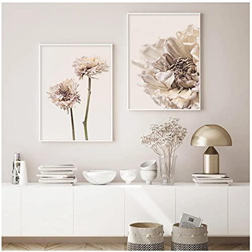 Moderna Flor Seca en Flor sobre Lienzo Beige, Pintura, Carteles artísticos de Pared, Impresiones, imágenes para la decoración del hogar de la Sala de Estar - (50x70cm) x2pcsNoFrame
