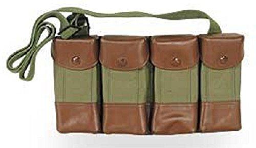 Vietnam Military Surplus Leather & Canvas SKS Rifle 7.62x39 4 Four Pocket Shoulder / Neck Carrier Pouch Rig for Cartridge Ammo Ammunition & Stripper Clips