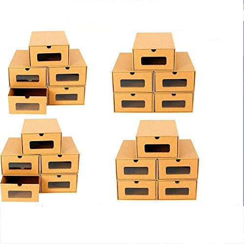 20 unidades de almacenamiento de zapatos apilables de papel kraft con ventana transparente para zapatos, limas o vestidos, almacenamiento de juguetes