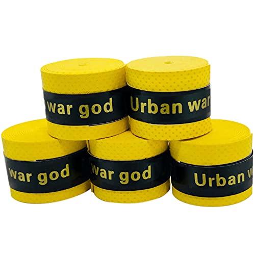 グリップテープ 5個セット (5色セット・黒・赤・青・紫・黄・など各色セットあり) ドライ多孔 オーバーグリップ テニス バドミントン 他 (イエロー)