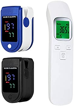 Decdeal 2-Pieces Fingertip Pulse Oxygen Tester + Non-Contact Thermometer