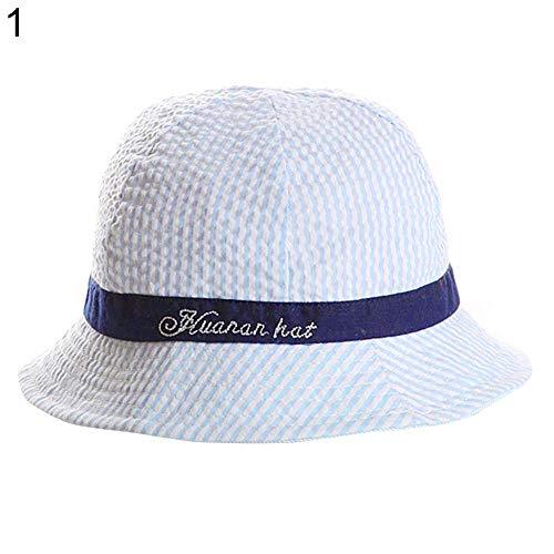E-House Chapeau de protection solaire pour enfant Motif rayures Rose - Bleu - Taille Unique