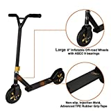 Xspec Aluminum Pro Stunt Dirt Kick Scooter Offroad Tires All Terrain Mountain, Matte Black & Gold, Oversized BMX Handlebars...