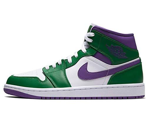 Nike Air Jordan 1 Mid Hombres 554724-445, verde (Aloe Verde/Court Púrpura-blanco), 44.5 EU