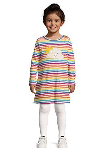 kIDio Algodón orgánico - Bebé Niña - Vestido BLU/Rayas Arcoiris (0-4 Años) (3M (0-3 Meses), Rayas Arcoiris)
