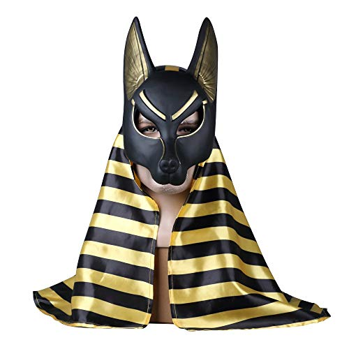 VAWAA 2 Pc Ägyptischen Anubis Cosplay Gesichtsmaske PVC Canis Spp Wolf Kopf Schakal Tier Maskerade Requisiten Party Halloween Fancy Kleid Ball