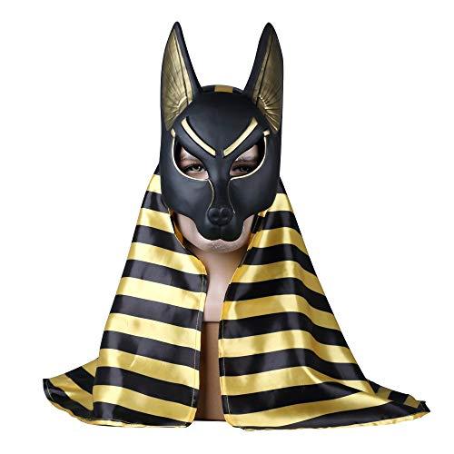 2 Pc Egipcio Anubis Cosplay Máscara De La Cara PVC Canis Spp Lobo Cabeza Chacal Animal Mascarada Props Fiesta Halloween Vestido De Fantasía Bola