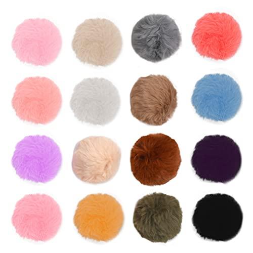 16 pompones de pelo sintético de conejo, imitación de pelo real, 16 colores, para gorros, llaveros y gorros, decoración de invierno