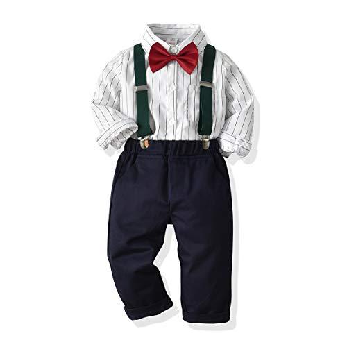 SANMIO Baby Jungen Bekleidungssets, Hemd + Hose + Fliege Krawatte Kinder Anzug, Schwarz, Gr.- Etikette 120/Körpergröße 110-120 CM