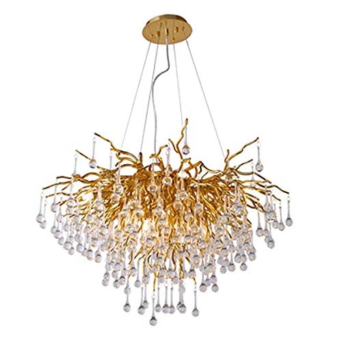 YMLSD Chandeliers,Upscale Living Room Restaurant Lighting,Crystal Branches Water Droplets Chandelier,G9 Villa Modern Light Luxury Lights,Dorado,3 Luces