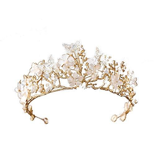 LLDKA Bruids tiara kroon vlinder bloem kristal boor haarband Hoofddeksels Haar sieraden voor bruiloft