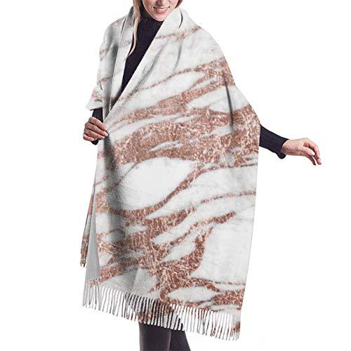 Stone Chic elegante blanco rosa oro rosa mármol para mujer bufandas de cachemira moda grandes chales cálidos idea de regalo chales de invierno abrigos