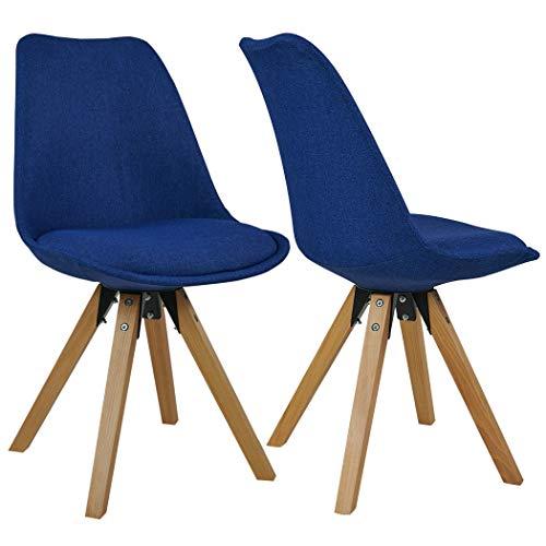 Duhome Set di 2 Sedia da Sala da Pranzo in Tessuto Azzurro Blu Design Retro Stil scandinavo con Piedini in Legno Cucina Vintage Selezione Colore 518EM