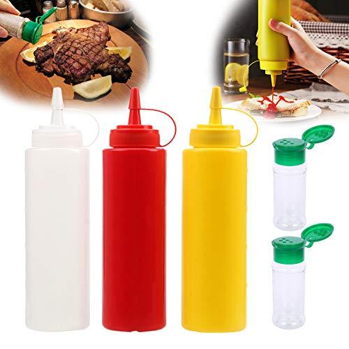KAISHANE Squeeze Sauce set Bottles Seasoning Container Dispenser 3PCS 250ml 8OZ Squeeze Seasoning Bottles and 2PCS Seasoning Bottles for Condiments, Ketchup, Mayonnaise, Mustard, Hot Sauce, Olive Oil