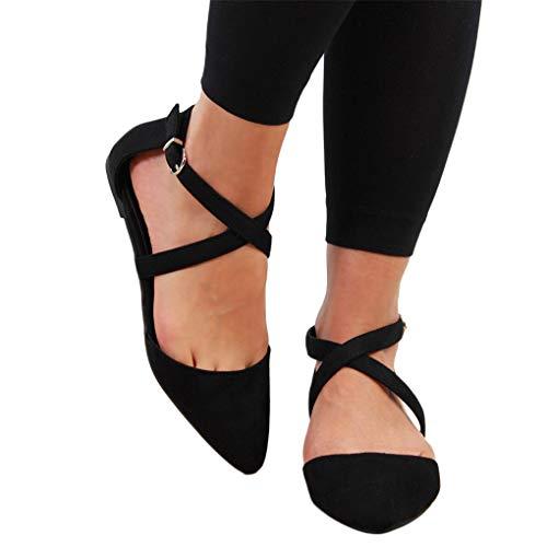 Sommer Halbschuhe für Damen/Dorical Frauen Kreuz Riemchensandale Pointed Toe Sexy Sandalen, Flach mit Schnallen Damenschuhe Mode einfache Wildleder Schuhe 35-43 EU Ausverkauf(Schwarz,43 EU)