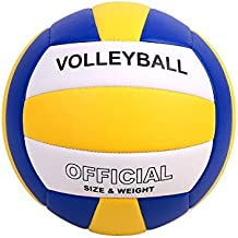 Pecogo Volleyball Size 5 PU Leather Soft Indoor Outdoor Volleyballs Sports Training Game Play Ball for Beginner, Teenager, Adult, 8.2
