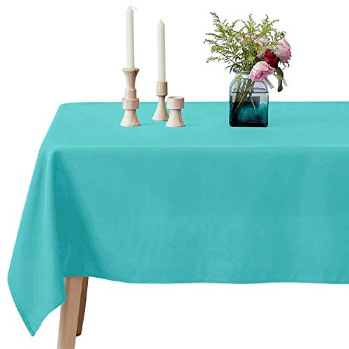 VEEYOO 60 x 102 inch Rectangular Solid Polyester Tablecloth for Wedding Restaurant Party Rectangle/Oblong/Oval Table, Turquoise