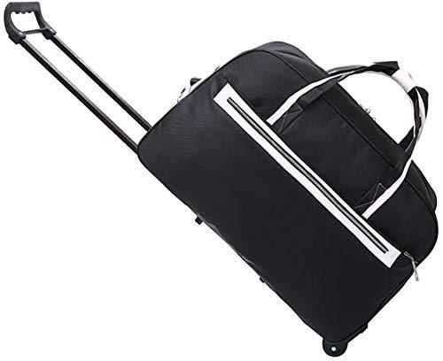 Mochila de Viaje La Maleta de la Carretilla Lleva el Equipaje con la Mochila de la Backpack Second Duffel Bag Amplio Capacidad (Color : Black, Size : 26 * 53 * 33cm)